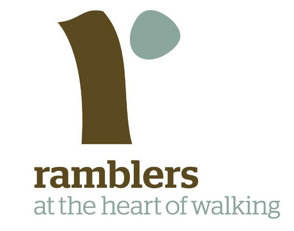 """Ramblers logo with caption """"at the heart of walking"""""""