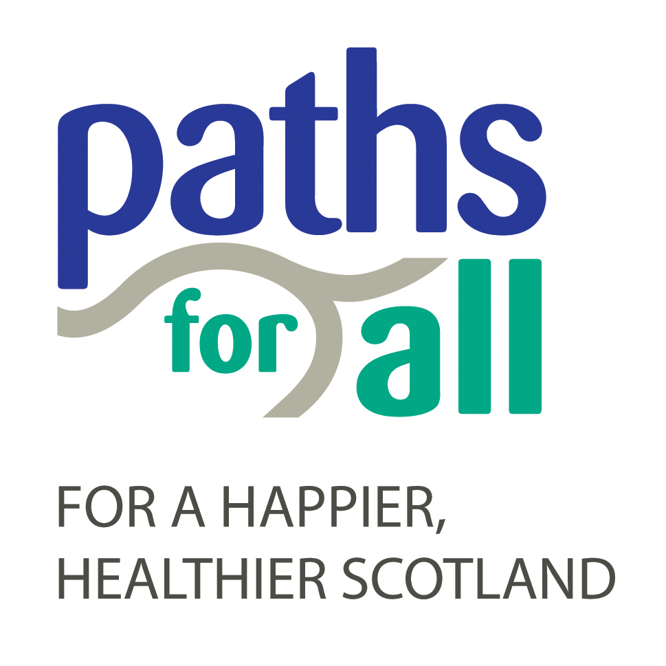 """Paths For All logo with caption """"for a happier, healthier Scotland"""""""